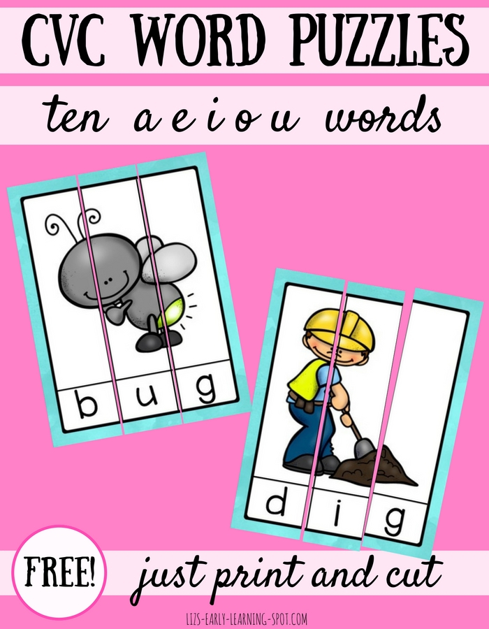 10 Free CVC Word Puzzles Liz S Early Learning Spot