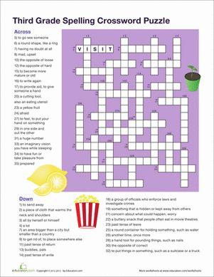 3rd Grade Vocabulary Crossword Worksheet Education