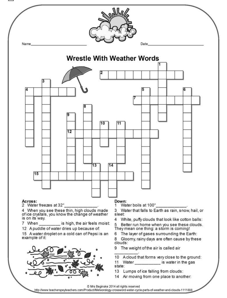 4Th Grade Printable Crossword Puzzles Printable