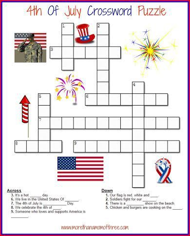 4th Of July Crossword Puzzle Activity Printable For Kids