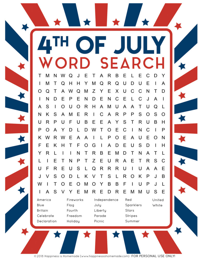 4th Of July Word Search Printable Happiness Is Homemade