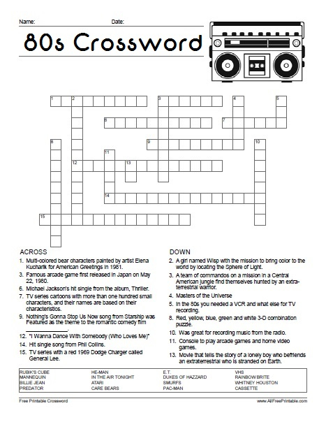 80 S Crossword Puzzle Free Printable AllFreePrintable
