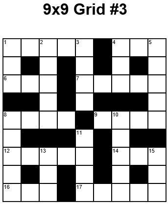 9x9 Easy Crossword Puzzle Grid 3 Puzzle 22 Crossword
