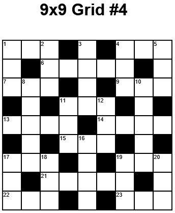 9x9 Easy Crossword Puzzle Grid 4 Puzzle 22 Crossword