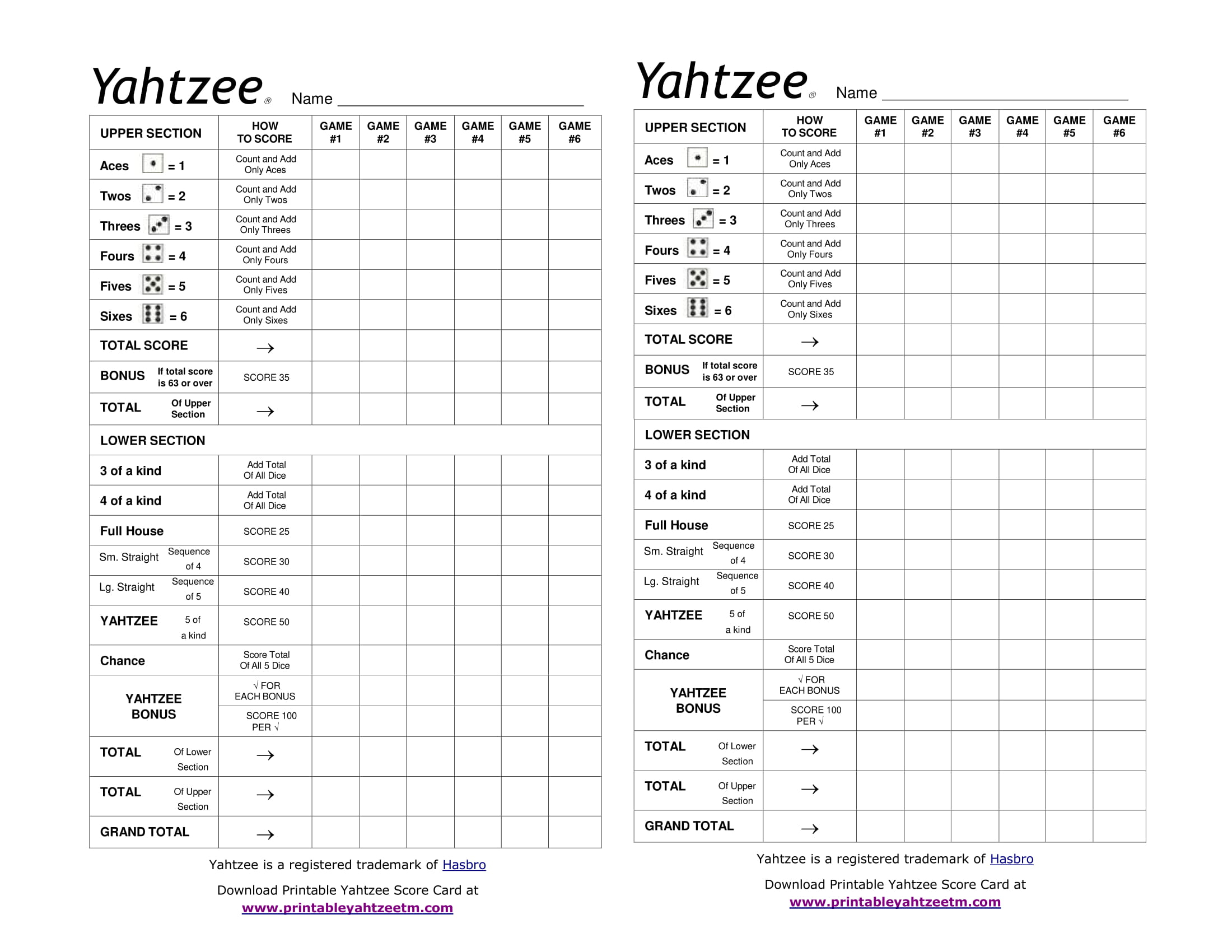 Printable Yahtzee Score Card-1