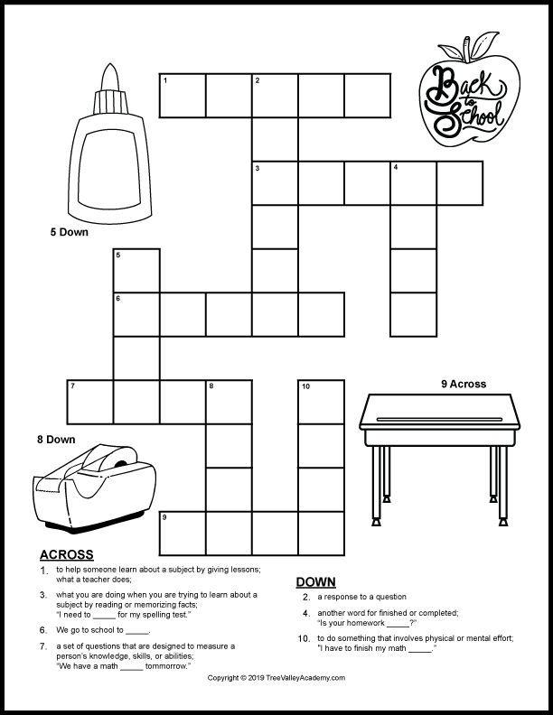 Back To School Crossword Puzzles Homeschool Fall