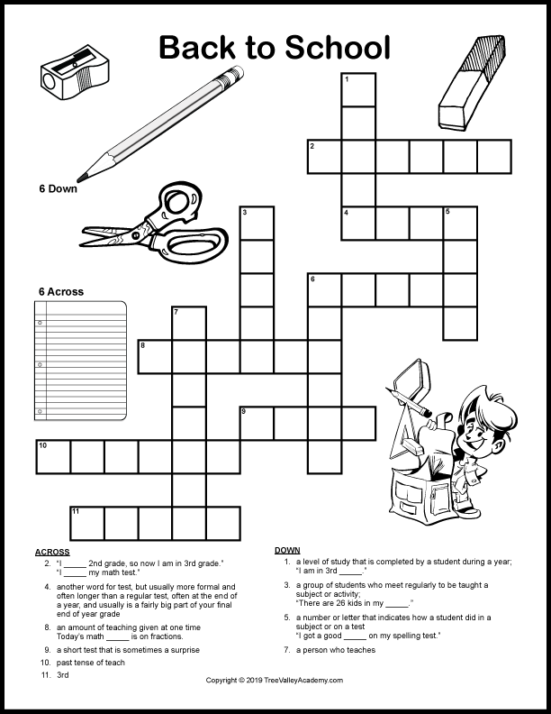 Back To School Crossword Puzzles Tree Valley Academy