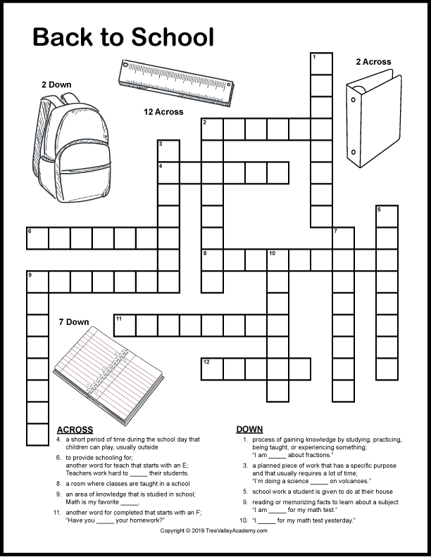 Back To School Crossword Puzzles Word Puzzles For Kids