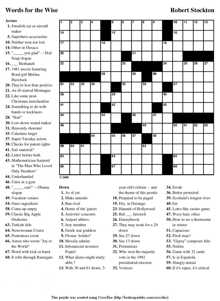 Beekeeper Crosswords Guardian Quick Crossword Printable
