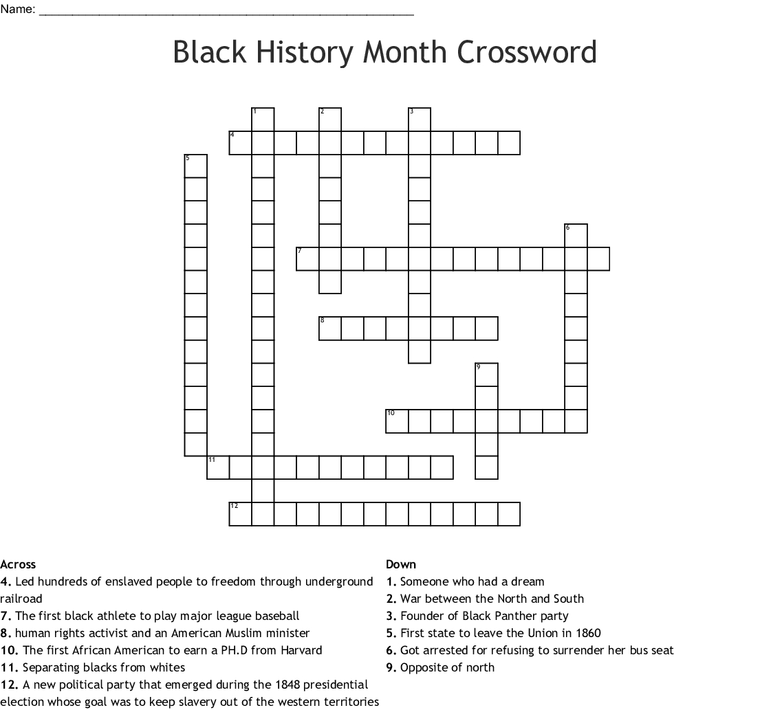 Free Black History Crossword Puzzles Printable