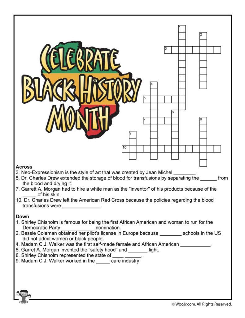 Black History Month Crossword Puzzle Worksheet Woo Jr