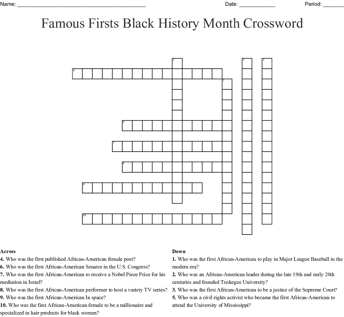 Free Printable Black History Crossword Puzzles