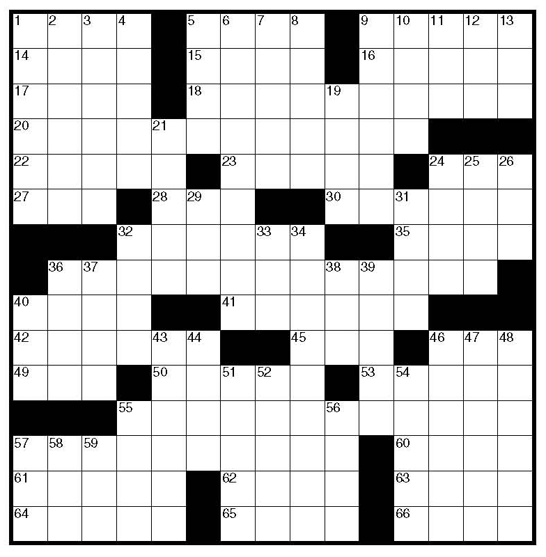Blank Crossword Puzzle Template Business