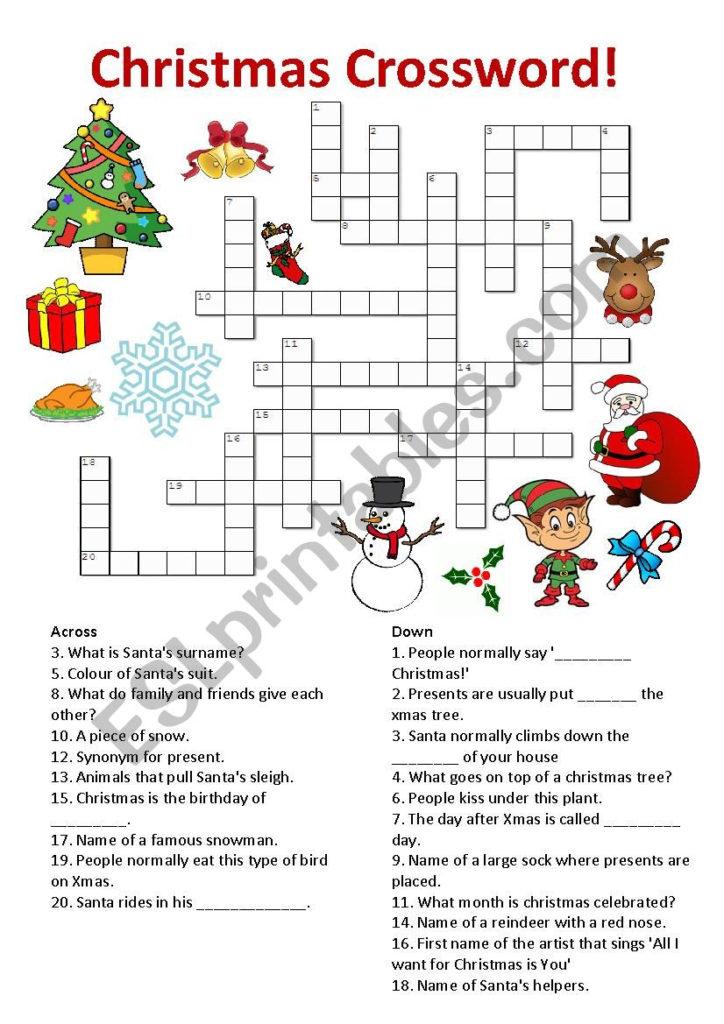 Christmas Crossword ESL Worksheet By Annblake