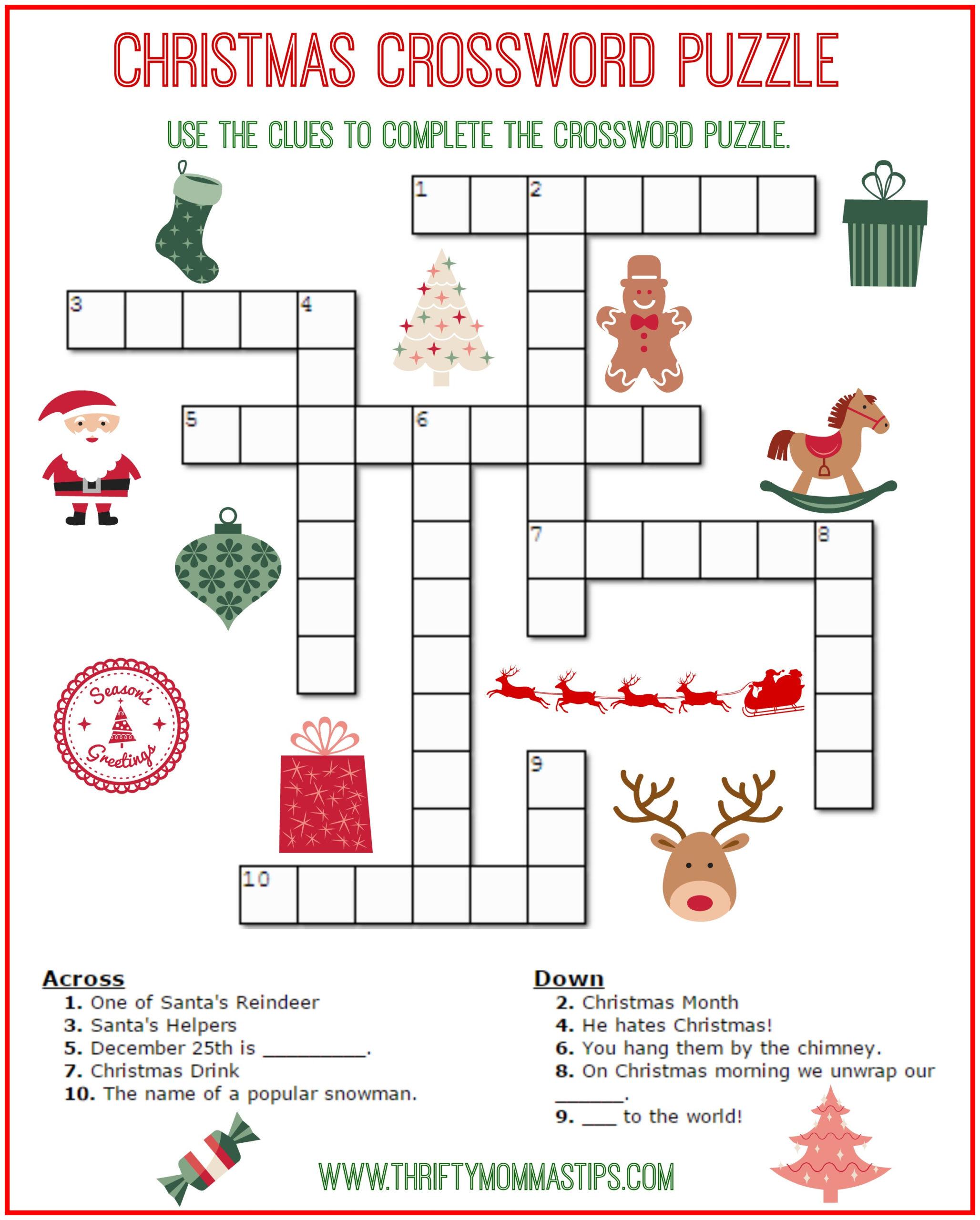 Christmas Crossword Puzzle Printable Free