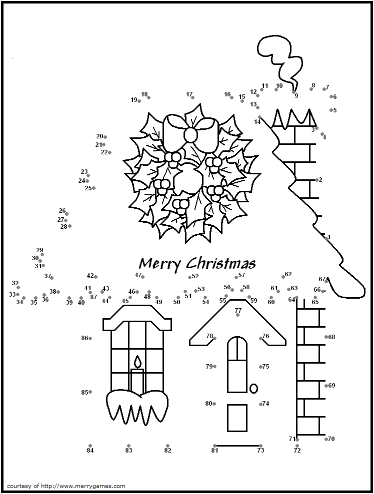 Christmas House Dot To Dot Christmas Coloring Pages