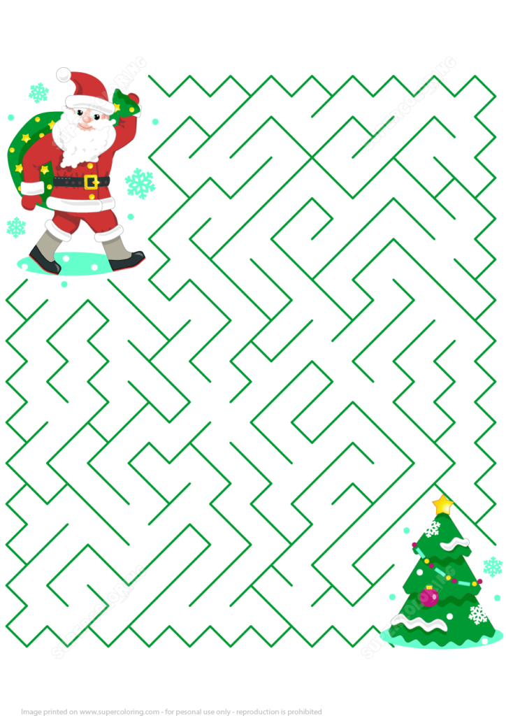 Christmas Maze Puzzle With Santa Free Printable Puzzle Games