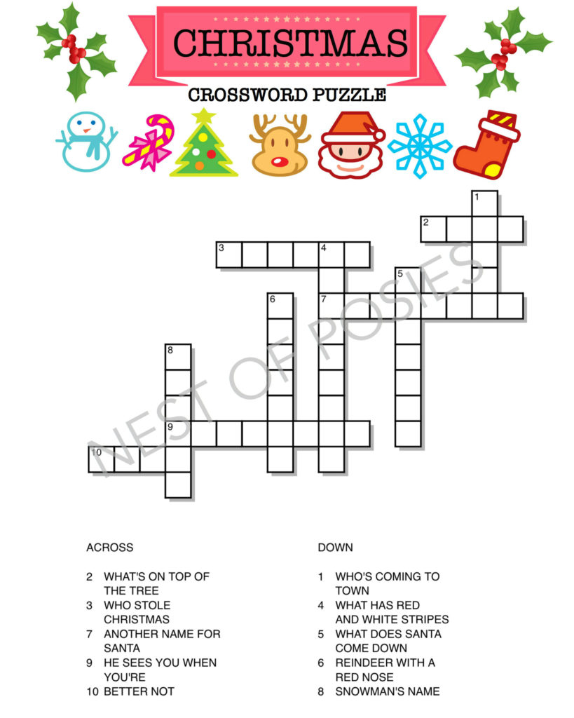 Christmas Word Puzzle Printables For Kids Nest Of Posies