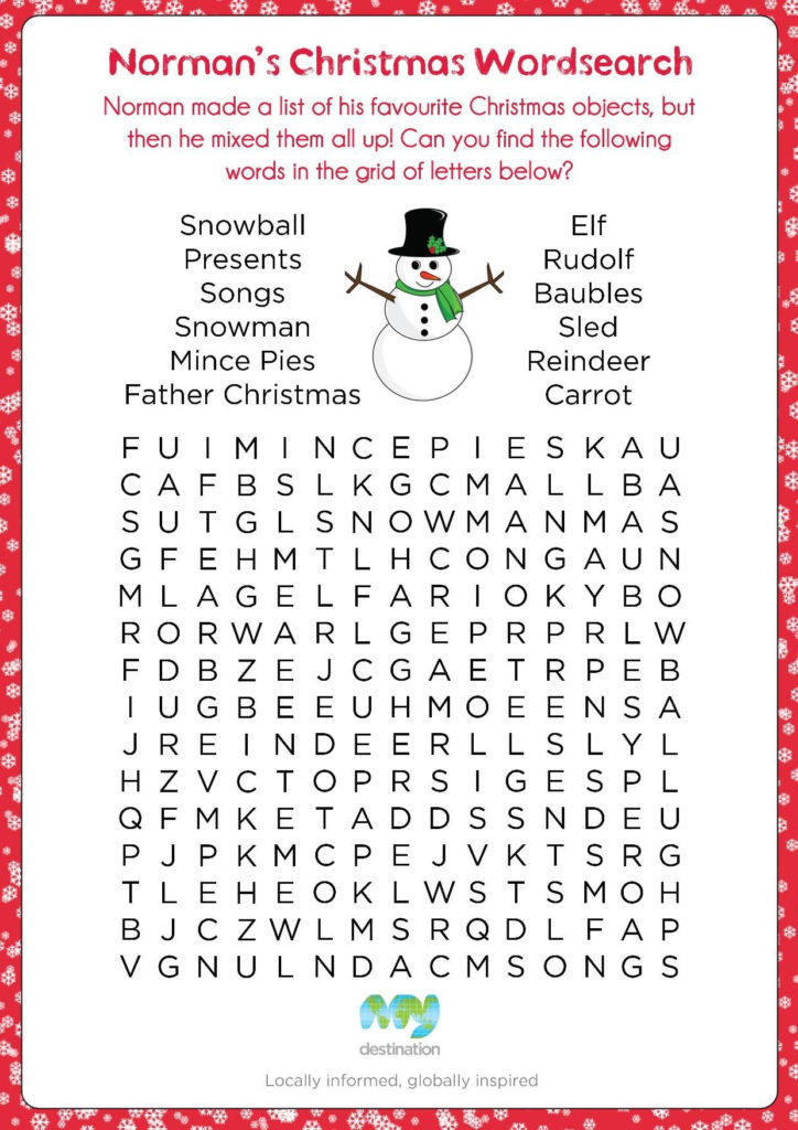 Christmas Wordsearch Download This Puzzle For Free At The