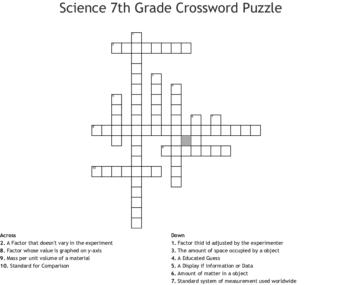 Printable Crossword Puzzles For Grade 7