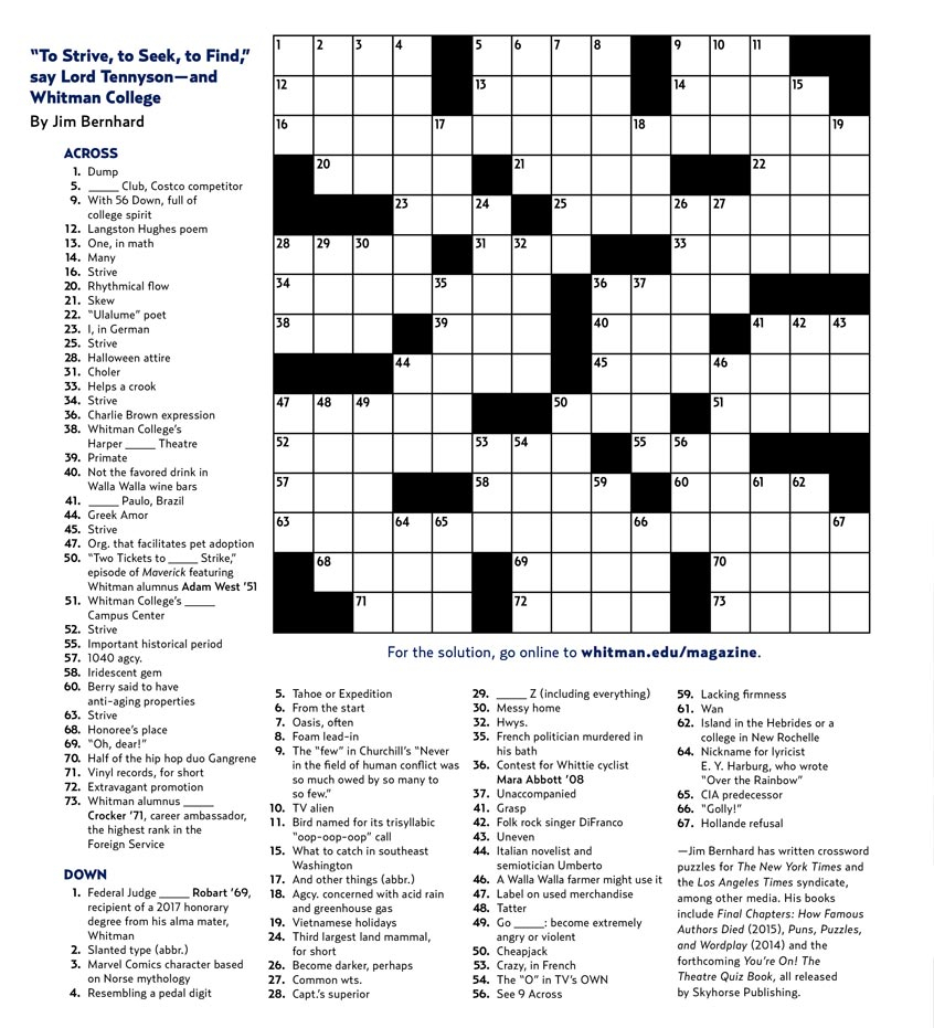 Crossword Puzzle Whitman College
