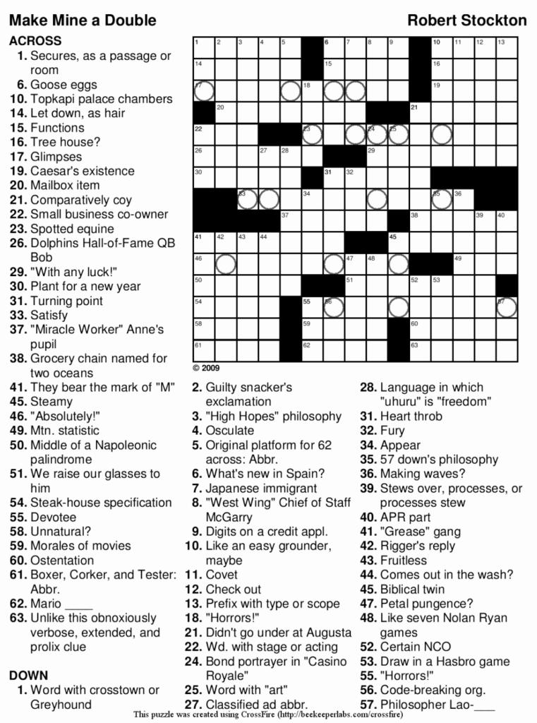 Crossword Puzzles Printable 7Th Grade Printable