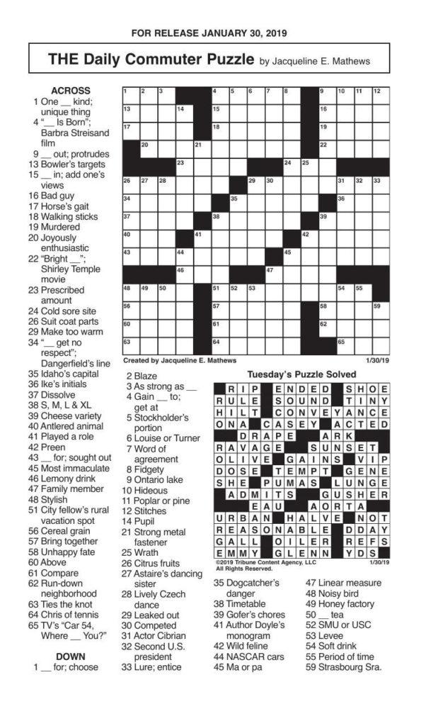 Crosswords January 30 2019 Crosswords Redandblack