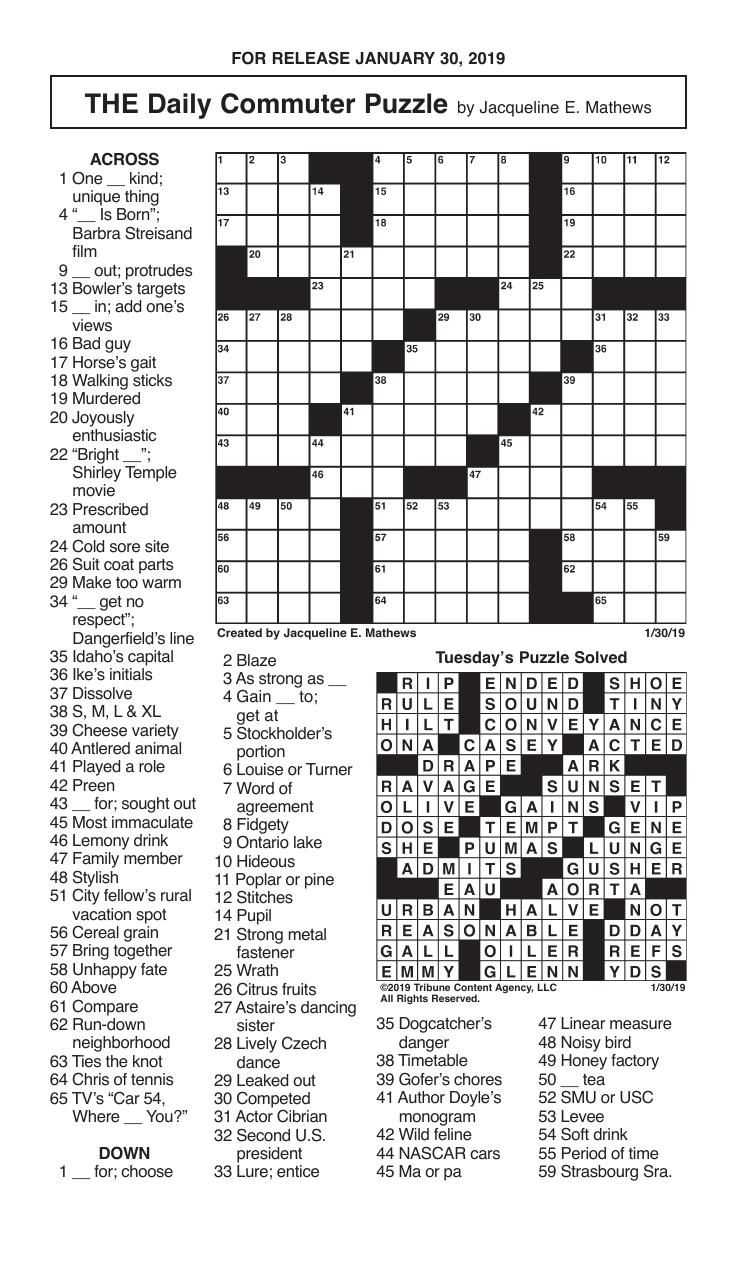 Free Daily Printable Crossword Puzzles January 2020
