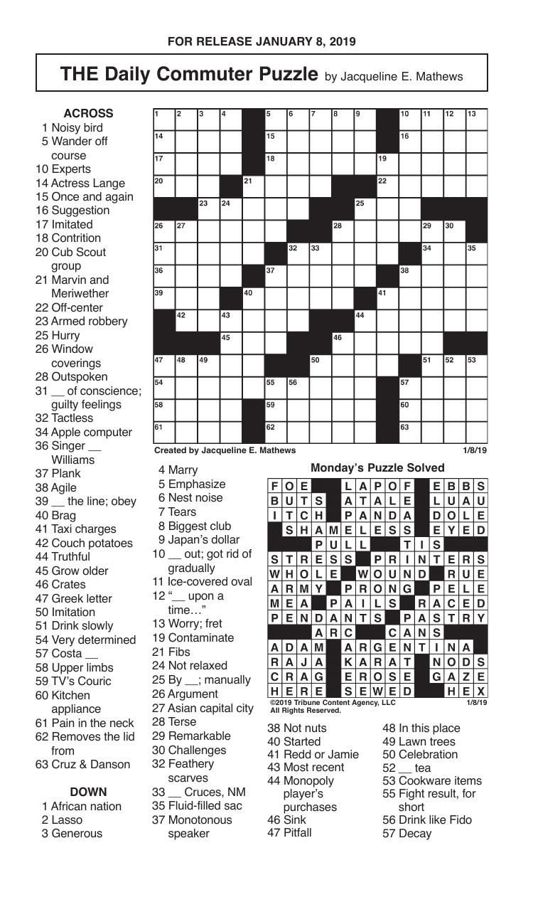 Free Daily Printable Crossword Puzzles October 2019