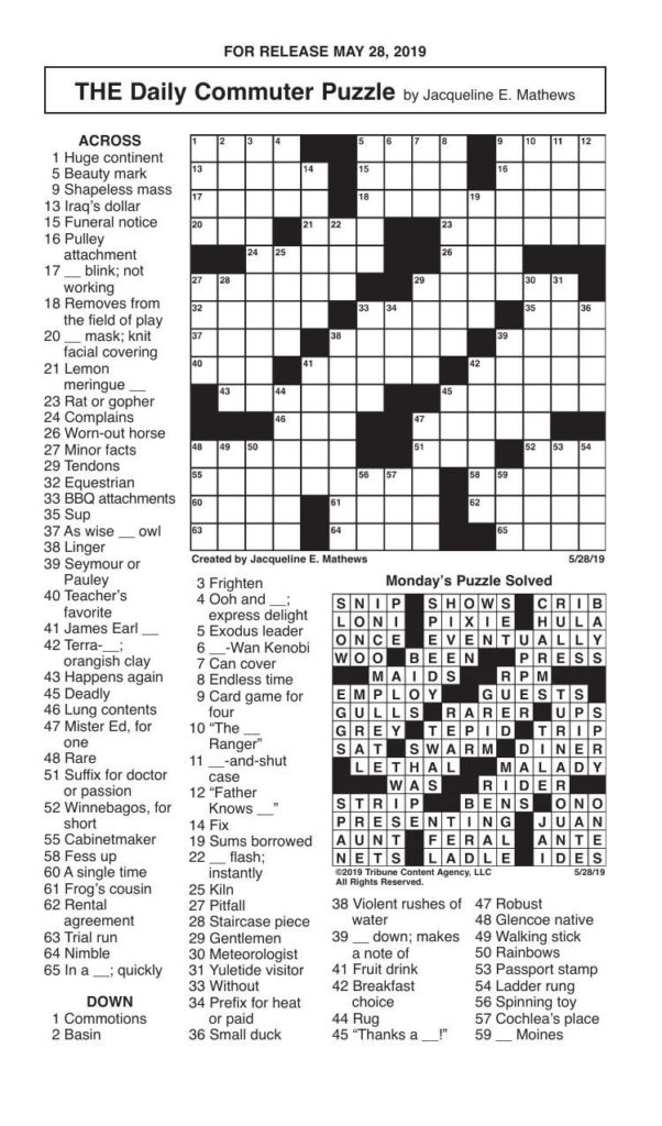Crosswords May 28 2019 Crosswords Redandblack