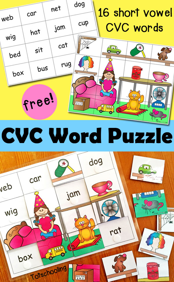 CVC Word Puzzle Totschooling Toddler And Preschool
