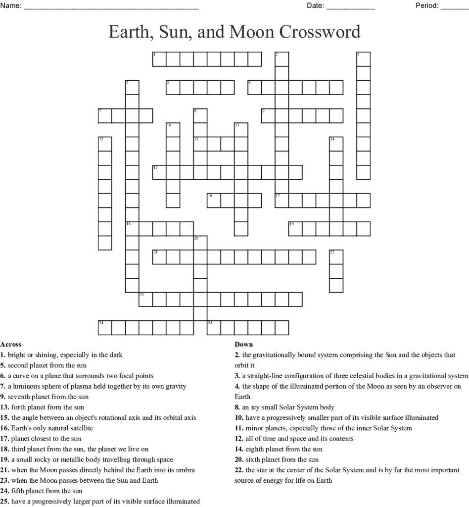 Earth Sun And Moon Crossword Wordmint Sun Crossword