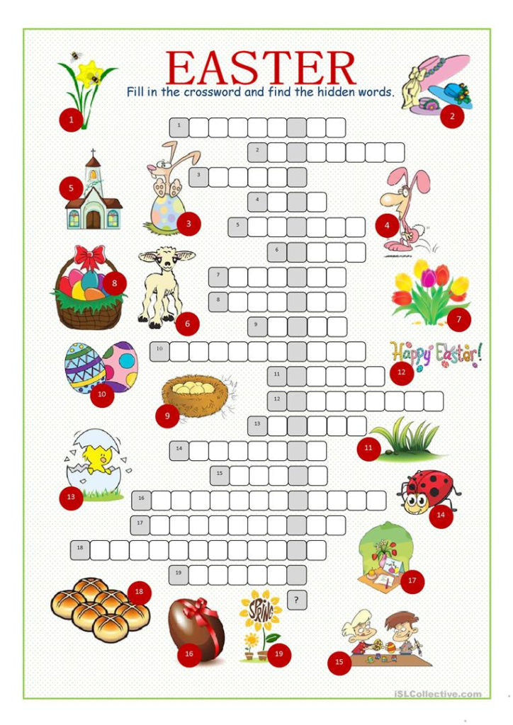 Easter Crossword Puzzle English ESL Worksheets For