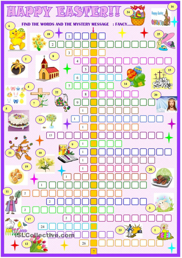 Easter Crossword Puzzle ESL Worksheet Of The Day By