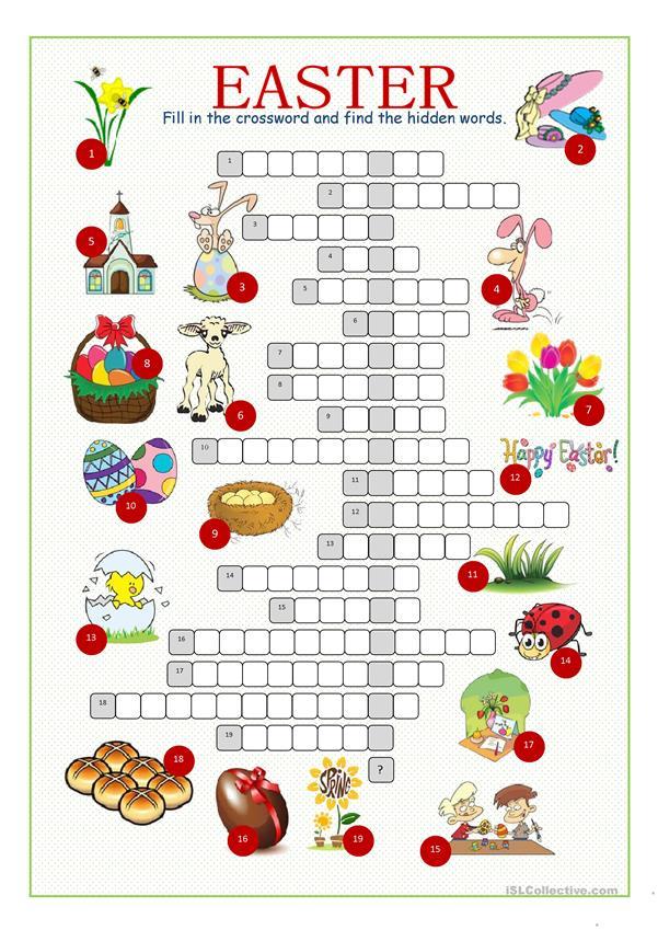 Easter Crossword Puzzle Worksheet Free ESL Printable