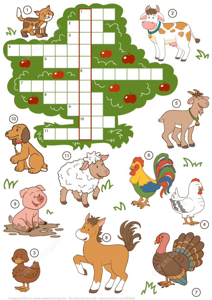 Farm Animals Crossword Puzzle For Beginners Free