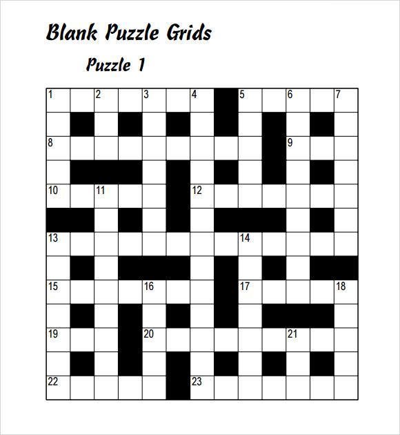 FREE 9 Blank Crossword Templates In PDF Excel EPS