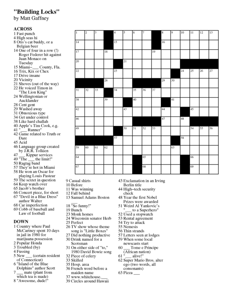 Free Daily Online Printable Crossword Puzzles Free Printable