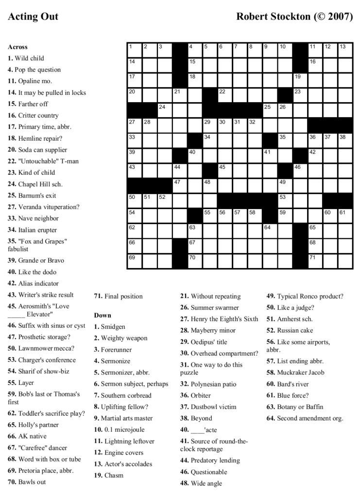 Free Daily Printable Crossword Puzzles January 2012