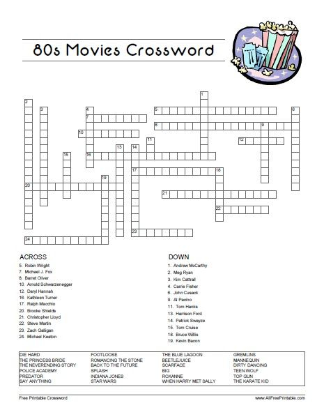 Free Printable 80 S Movies Crossword Looking For Fun