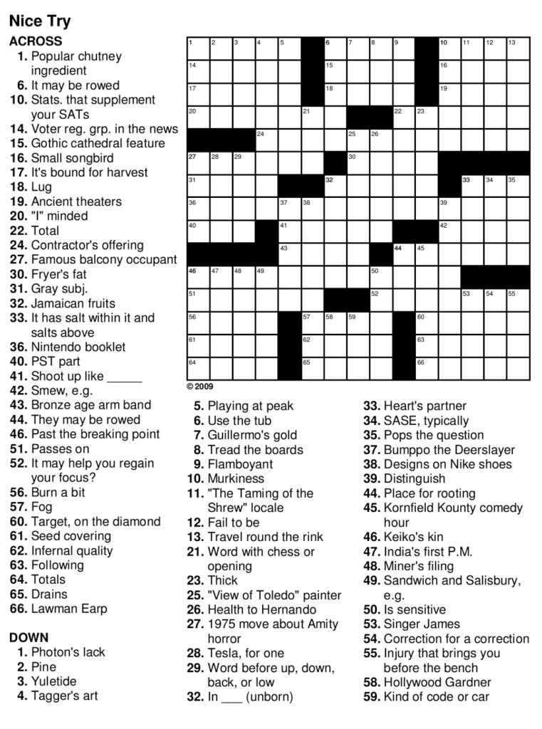 Free Printable Crosswords Easy