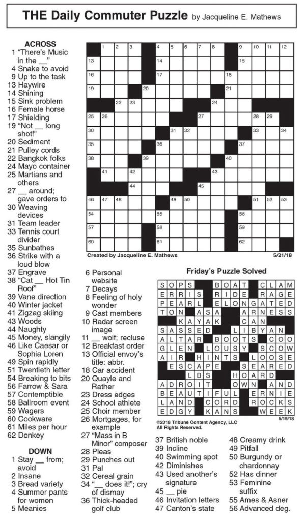 Free Printable Daily Commuter Crossword Printable