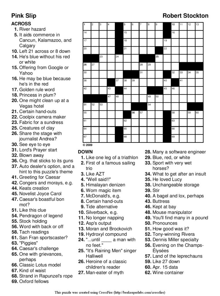 Free Printable Easy Crossword Puzzles With Answers