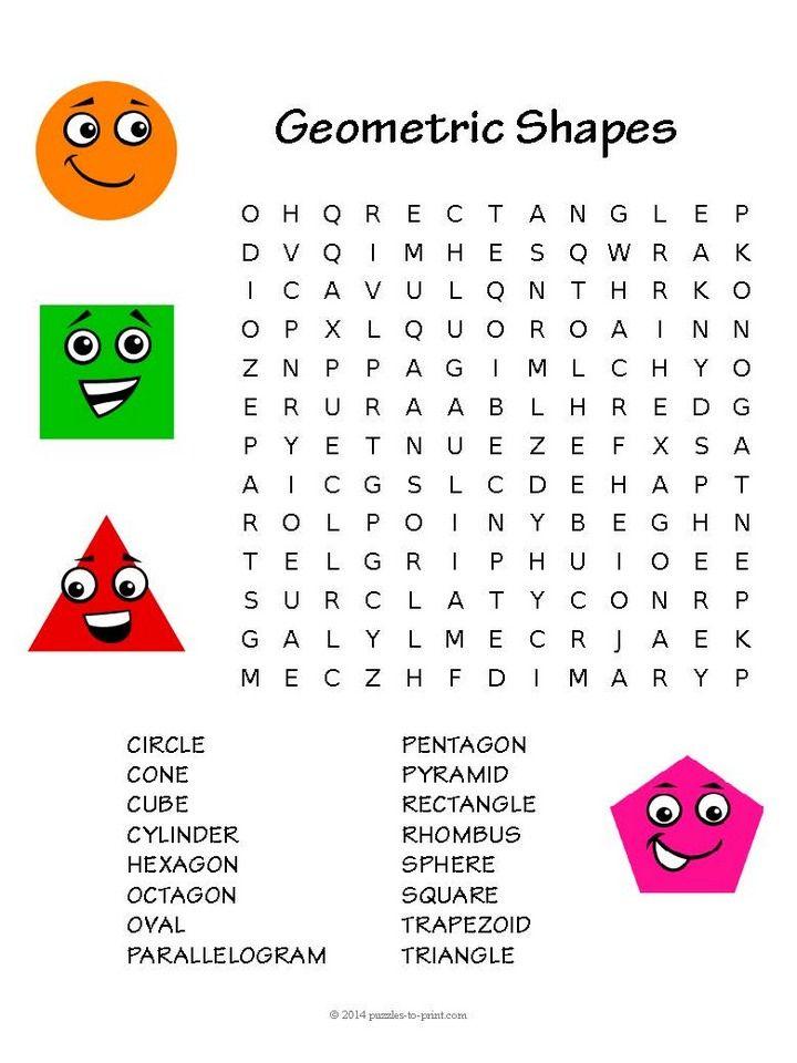 Free Printable Geometry Word Search Geometry Words