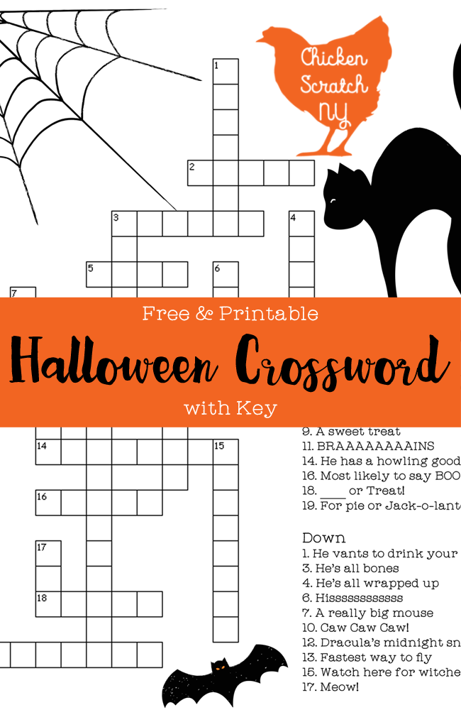 Free Printable Halloween Crossword Puzzle With Key