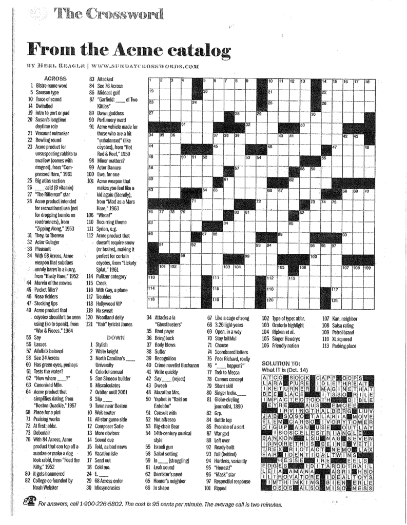 Free Printable Merl Reagle Crossword Puzzles Printable
