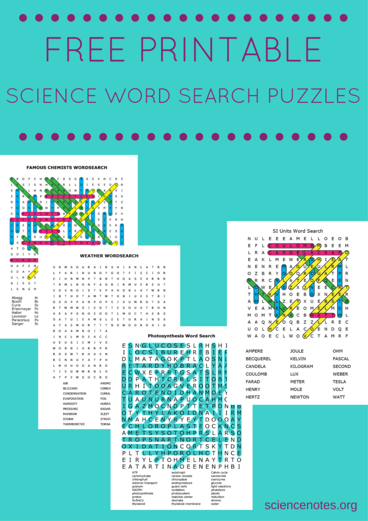 Free Printable Science Word Search Puzzles