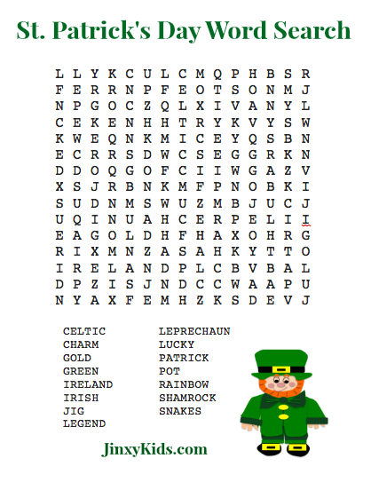 FREE Printable St Patricks Day Word Search Puzzle Jinxy