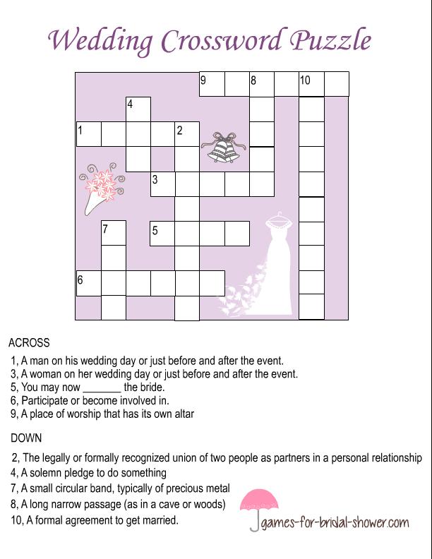Free Printable Wedding Crossword Puzzle