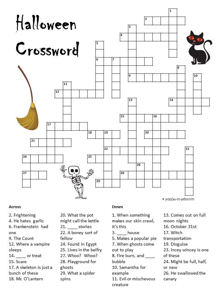 Halloween Crossword Halloween Crossword Puzzles